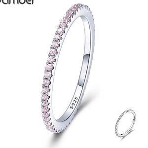 NEW Sterling silver pink rhinestone eternity ring